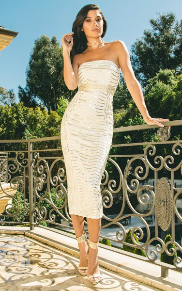 white and silver sequin midi bodycon dress