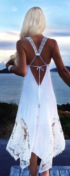 white backless crochet lace long summer dress
