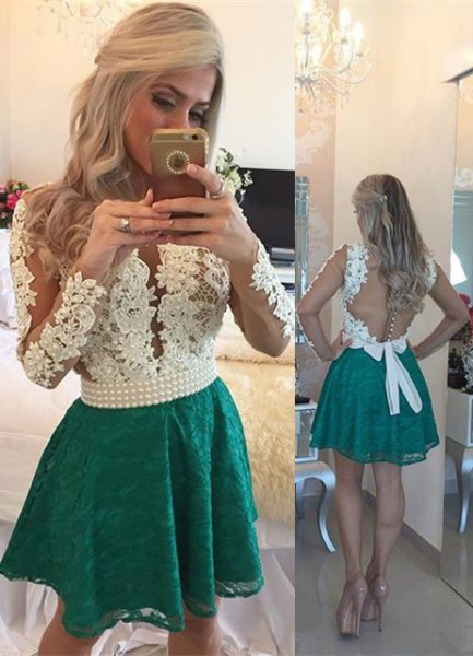 white backless lace top with grey mini skater skirt