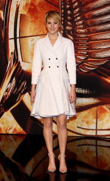white blazer flared coat dress with open toe heels