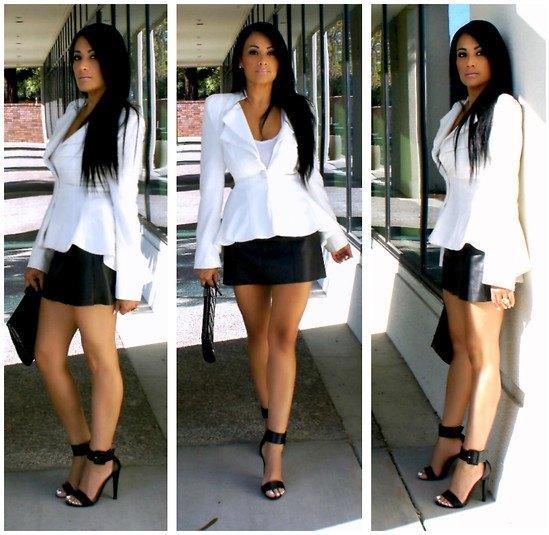 white blazer with black leather mini skirt