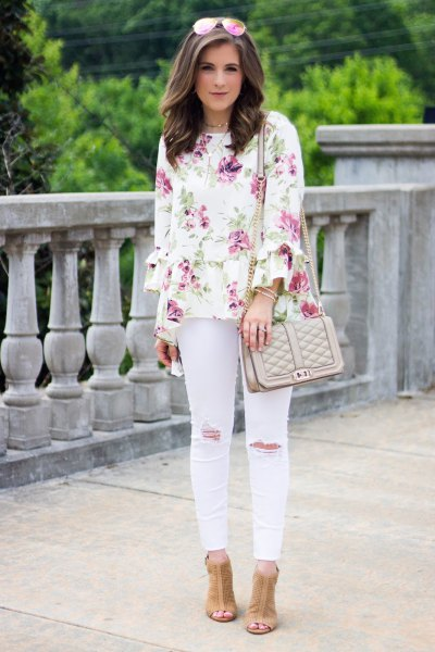 white blouse with pale pink ripped skinny jeans