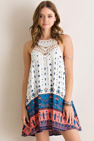 white blue and orange tribal printed color block swing halter sundress