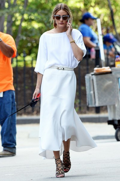 white boat neck sweater with maxi dress and belt