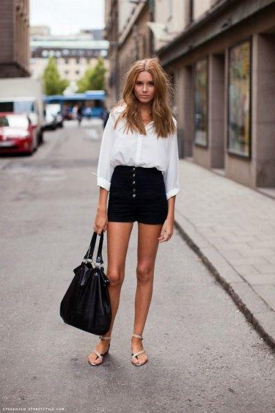 white button up shirt with black button front mini denim shorts