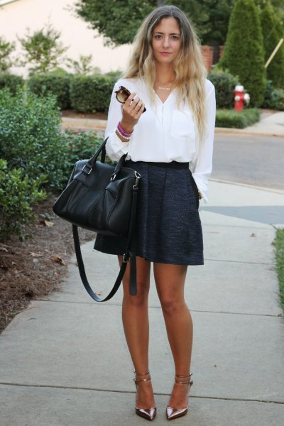 white button up shirt with black mini circle skirt
