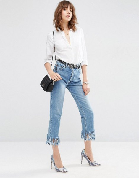 white button up shirt with cropped jeans