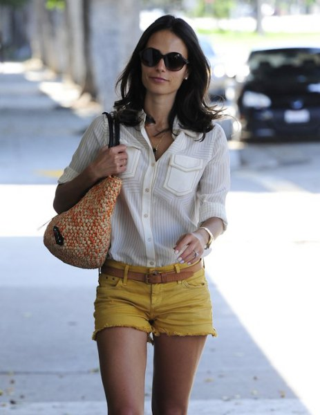 white button up shirt with yellow mini denim shorts