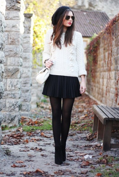 2b69b769792 White Cable Knit Sweater with Black Pleated Mini Skirt. source. To start  off this list of beautiful and refreshing outfit ideas ...