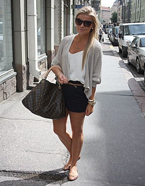 white camisole and grey cardigan