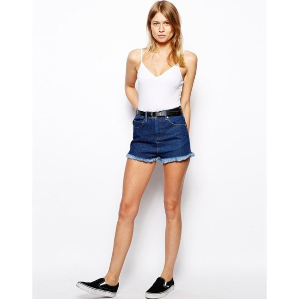 white camisole with blue mini shorts