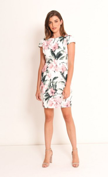 white cap sleeve floral printed mini tulip dress
