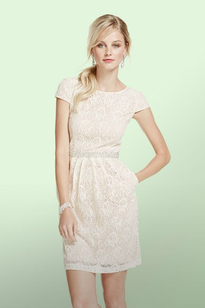 white cap sleeve gathered waist mini lace dress
