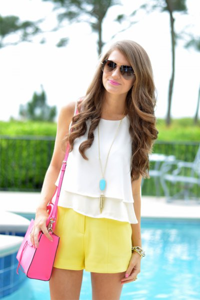 white chiffon ruffle vest top with flowy shorts