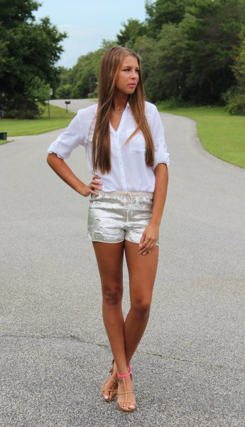 white chiffon shift with silver shorts