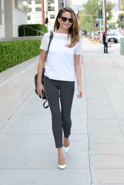 white chiffon t shirt with checkered skinny ankle pants