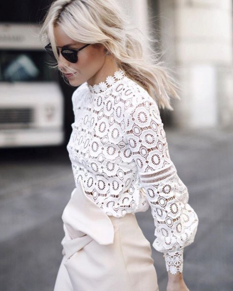 white crochet lace mock neck long sleeve top with mini skirt