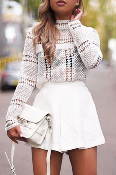 white crochet mock neck top with mini skater skirt