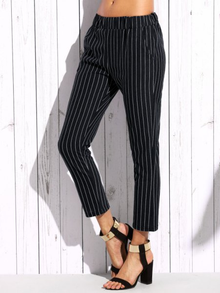 white crop top with vertical striped elastic waist ankle pants