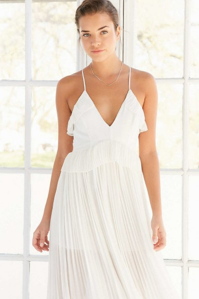 white deep v neck pleated maxi dress