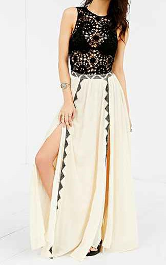 white double slit maxi skirt with black and silver sequin sleeveless top