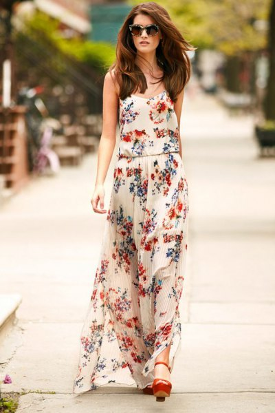 white floral chiffon maxi dress with brown heels