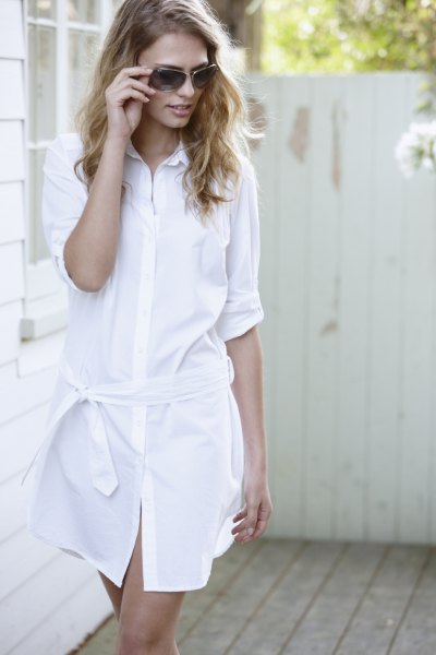white half sleeve button up tie waist cotton mini dress