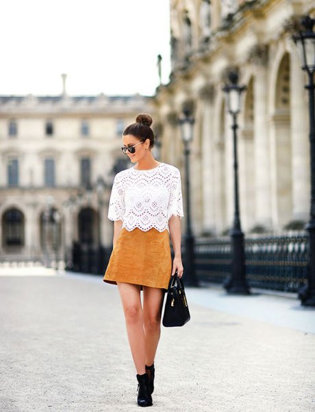 white half sleeve lace top with yellowish brown suede mini skirt