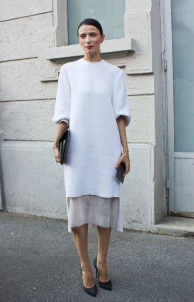 white half sleeve white tunic dress over pale pink midi velvet skirt