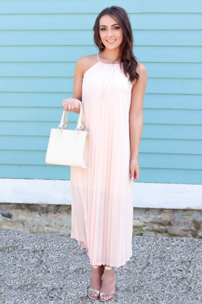 white halter neck maxi shift pleated dress