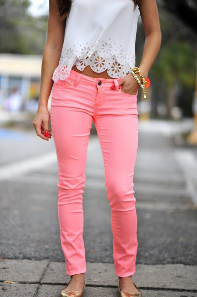 white lace cropped halter top with pink jeans