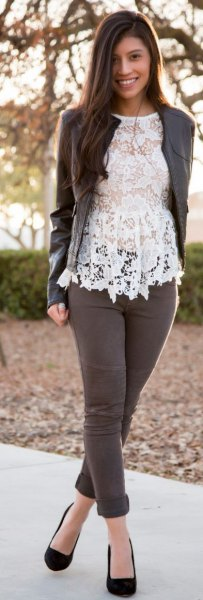 white lace top with grey leather jacket