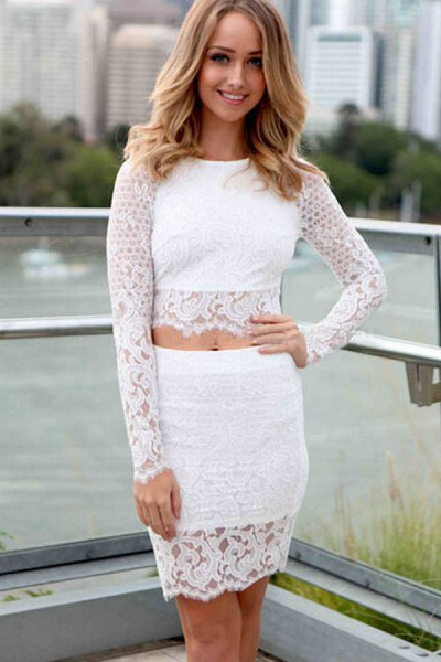 white lace top with matching bodycon mini skirt