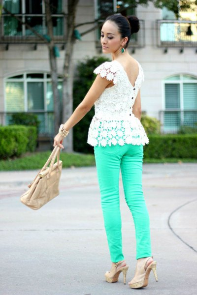 white low back lace peplum top with pink skinny jeans