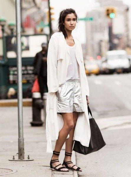 white maxi cardigan vest top