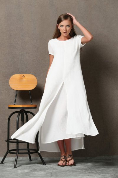 white maxi two layered flared dress