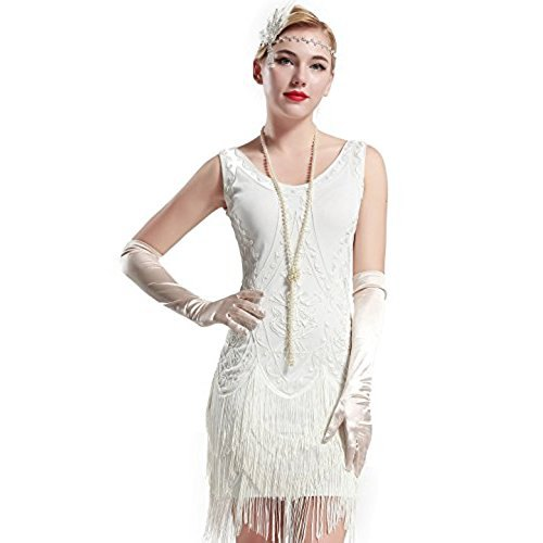 white mini fringe dress with silk long gloves