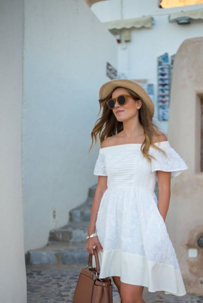 white off the shoulder cotton mini skater dress