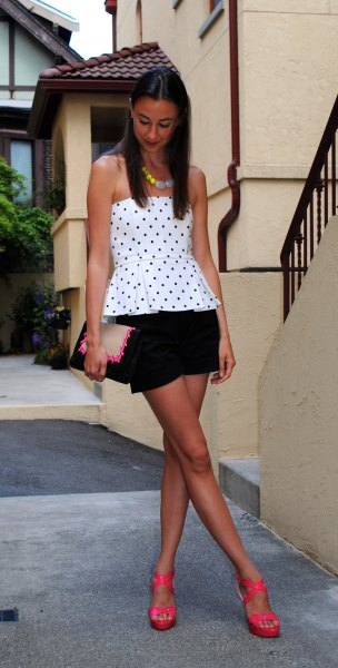 white off the shoulder polka dot peplum top with black dressy shorts