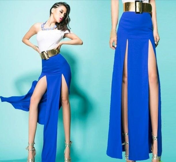 white one shoulder top with royal blue maxi skirt and gold belt