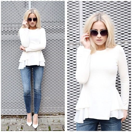 white peplum sweater with ruffle blouse and jeans