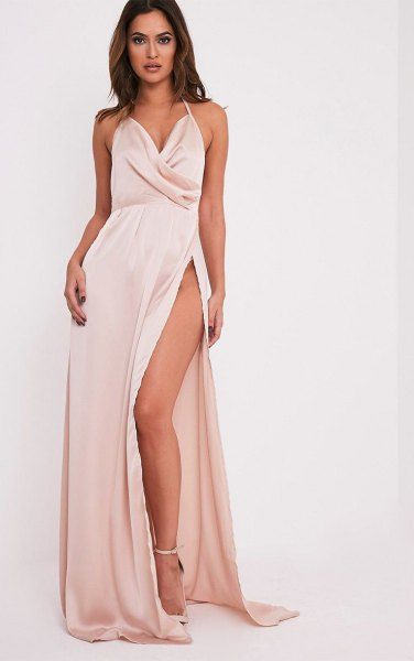 white plunge maxi high split silk dress