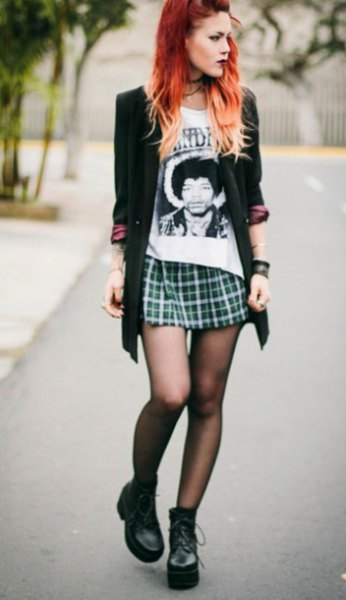 white print tee with green plaid mini skirt and long blazer