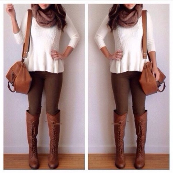 white ribbed sweater with brown skinny jeans and knee high boots
