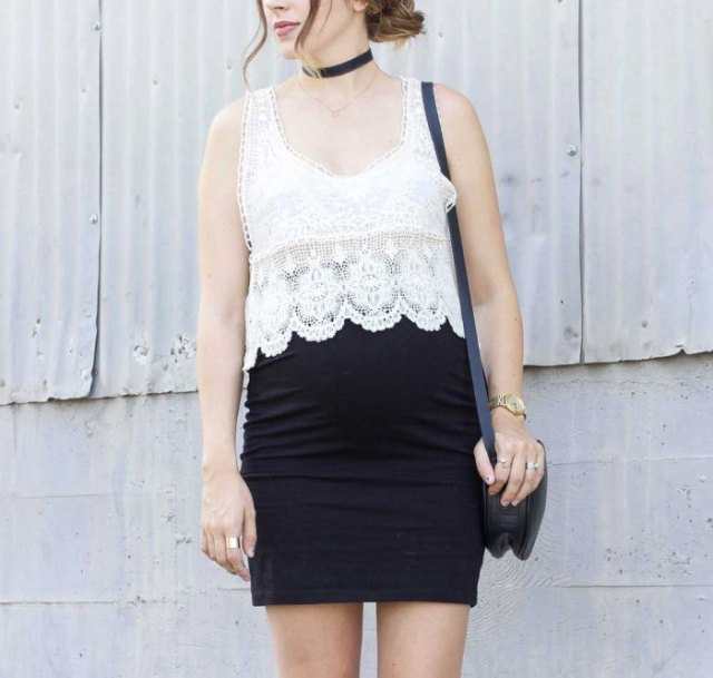 white scalloped hem lace top with black mini bodycon skirt