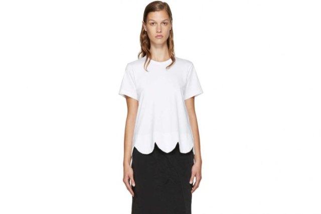 white scalloped hem tee with black midi denim skirt