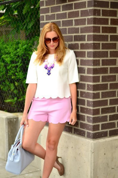 white scalloped shirt with matching sky blue mini shorts
