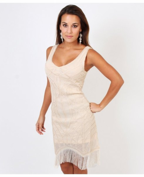 white scoop neck fringe mini dress