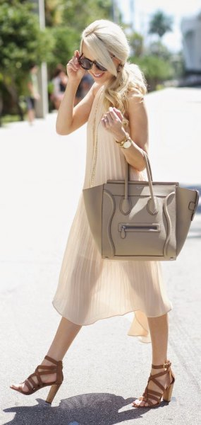 white semi sheer chiffon pleated midi dress