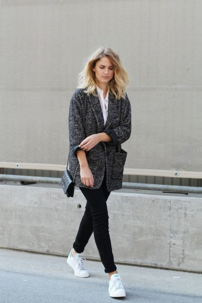 white shirt and heather grey oversized cardigan